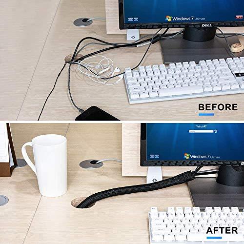 AGPTEK Kabelkanal, selbstschließend Kabelschlauch, gewebter Kabelmantel zuschneidbar, flexibel 3m, Durchmesser 12-20mm, verstecken im Schreibtisch, TV, Boden, Schwarz