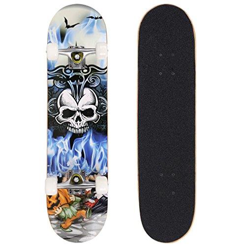 ANCHEER Skateboard Monopatín 79x19cm Patinetas Estándar Completas para Niños Jóvenes Principiantes,Cubierta de Madera de Arce Canadiense 7 Capas con Rodamientos ABEC-7 Carga Máxima 80 kg (cráneo)