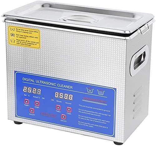 Kettles Limpiador ultrasónico, Lavadora ultrasónica Digital 3L Máquina de Limpieza de Acero Inoxidable con Temporizador de Calentador para Limpieza Joyas Anillos de anteojos