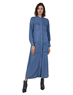 Splash Front Pockets Concealed Placket Long Sleeves Shirt Neck Cotton Maxi Dress for Women M