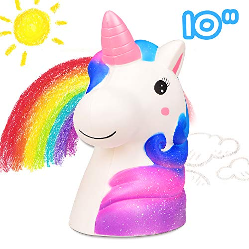 LUDILO 10 Jumbo Squishies Slow Rising Giant Squishy Large Unicorn Squishys Toys Jumbo Rainbow Unicorn Scented Squeeze Toys Kawaii Stress Relief Toys Novelty Toy Birthday Gifts for Kids Adults Galaxy