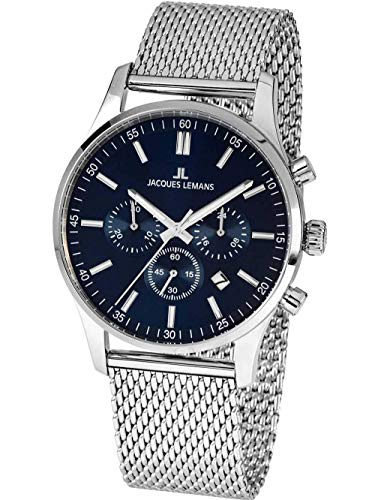 Jacques Lemans Herren-Chronograph London mit Milanaise-Armband 1-2025H