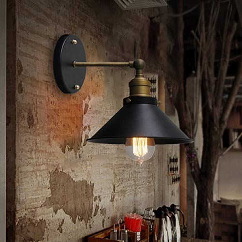 HG-JIAJUR wandlamp antieke stijl industriële lamp wandlamp E27 1 lampen van metaal met stekker in zwart voor koper woonkamer eetkamer hallamp keuken (zonder gloeilamp)