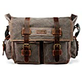 GEARONIC TM Men's Vintage Canvas Leather Tote Satchel School Military Shoulder Messenger Sling Drawstring Rucksack Crossbody Hiking Bag Backpack for Toiletry Gym Travel Work Laptop Slate