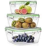 Home Fleek - Set de 3 Envases de Vidrio Cuadrado para Alimentos | Recipientes Herméticos de Cristal Para La Cocina | Apto para Lavavajilla, Horno, Microondas, Congelador | Sin BPA (Verde, Set de 3)