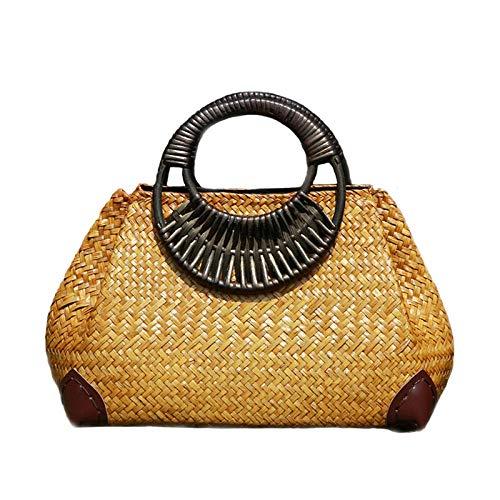 Bolsos de paja para mujer, bolso tejido de bambú para la playa de verano para mujer, bolso con asa de madera Vintage hecho a mano para mujer, bolsos de viaje tejidos de 21x32 cm
