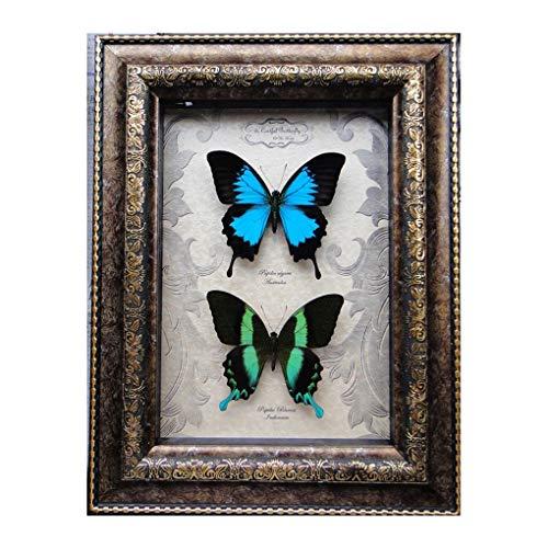 GeekFSU-Australia Indonesië vlinderafbeelding, frame van massief hout en spiegel van glas – voor meubels voor het huis, cadeau voor Valentijnsdag messing