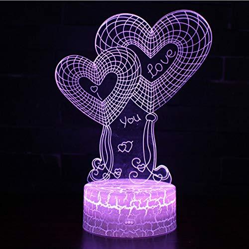 Acrylic Night Light Couple Love Birthday Valentine's Day 3D Desk Table Lamp Girlfriend Gift Wedding Decoration Love Heart