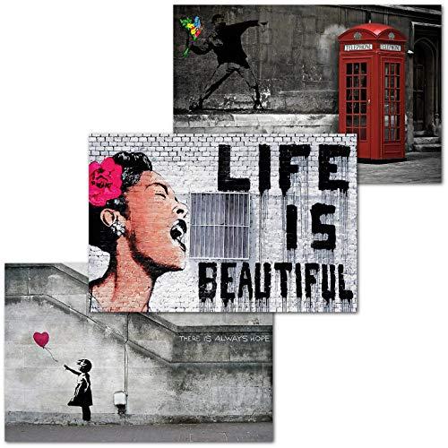 GREAT ART 3er Set XXL Poster – Life is Beautiful – Banksy Kuba Oldtimer Regenbogen Rose Kunst Illustration Pflanze Blume Dekor Inneneinrichtung Wandbild Plakat je 140 x 100 cm