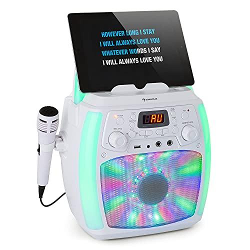 auna StarMaker Plus - Equipo de Karaoke, Bluetooth, USB, 2 x 6,3 mm para micrófono, AUX, Función Eco, Función de grabación, Reproductor CD, Salida de Audio y vídeo RCA, Programable, Pantalla LC