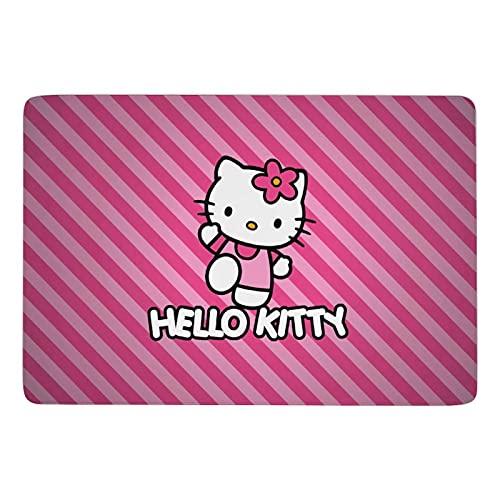 Cartoon Anime Cute Hello Kitty Pint Strip Line Coral Velvet Soft Modern Fluffy Alfombra de piso de alta calidad adecuada para dormitorio, sala de estar infantil interior