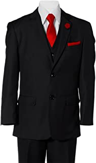 Boys Black 2 Button Suit with Neck Tie and Pocket Square