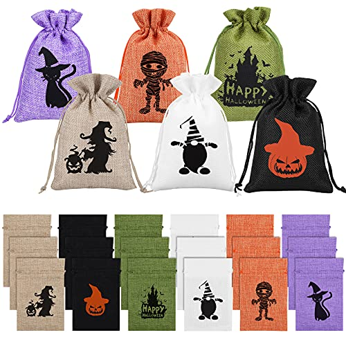 Ruisita 24 Pack Halloween Bags for Candy with Double Jute Drawstrings 6 x 4 Inch Mini Burlap Gift Bags Treat Bags for Halloween Candy Goody Bag Fillers for Weddings Birthdays Halloween parties