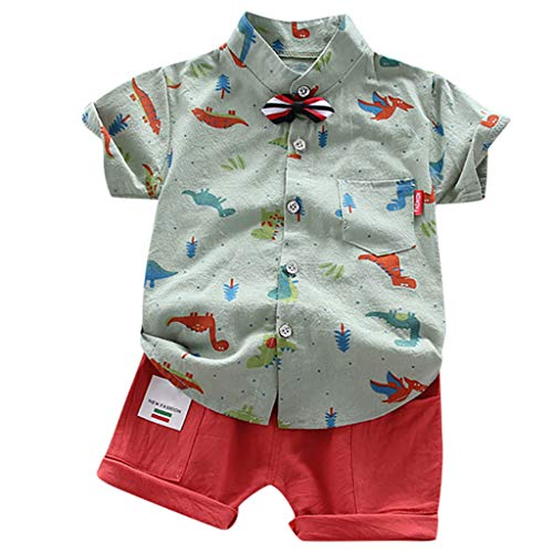 BUKINIE 2pcs Ensemble de vêtements pour bébé garçon Tenues d'été Gentleman Floral Button Down Shirt Bermuda Shorts Outfit Set 1-5T(Vert,2-3 Ans)