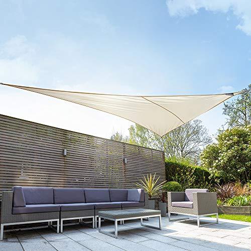 Kookaburra Waterproof Ivory Sun Shade Sail Garden Patio Gazebo Awning Canopy 98% UV Block with Free Rope (19ft 8' x 13ft 9' Right Angled Triangle)
