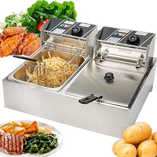 Commercial Deep Fryer for the Home, Electric Deep Fryerwith Dual Basket Removable, 5000W 12L Capacity Tank Electric Countertop Deep Fryer with Temperature Limiter