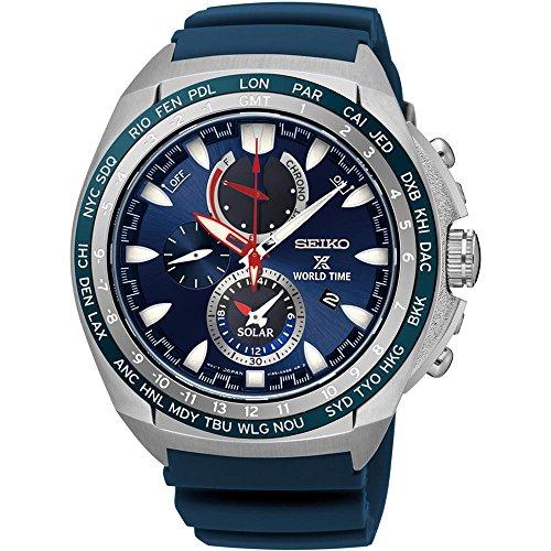 Neuf Seiko Ssc489d'heure solaire chronographe Bleu Bracelet en caoutchouc montre homme
