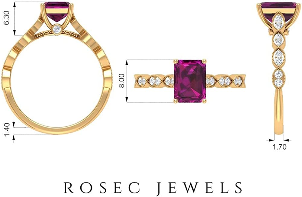 2 CT Rhodolite and Moisaanite Ring, Solitaire Ring with Side Stones, Gold Engagement Ring (6X8 MM Ocatgon Cut Rhodolite), 14K White Gold, Size:US 4.0