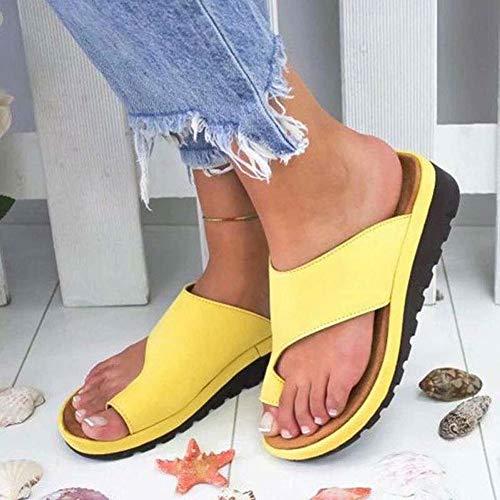 SDDS Zapatillas De Mujer Sandalias Ortopédicas, Verano Zapatos Cuña Chancletas Casual Planas, Adecuado para Pulgares del Dedo Gordo Pie Soporte Externo Plataforma,Amarillo,EU39/UK6