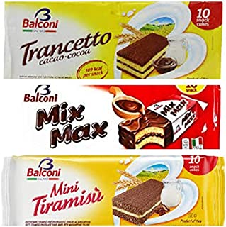 Balconi Cacao, Mix Max, Tiramisu -3 COMBO PACK - 10 Individual snack pack per package