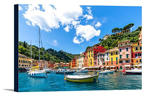 Portofino, Italy - Boats in the Harbor with Colorful Homes in the Background 9020293 (36x24 Gallery Wrapped Stretched Canvas)