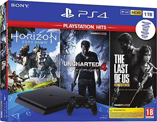 Sony PS4 1TB + Horizon Zero Dawn + The Last of Us + Uncharted 4 Negro 1000 GB Wifi - Videoconsolas (PlayStation 4, Negro, 8192 MB, GDDR5, GDDR5, AMD Jaguar)
