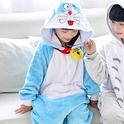 Disfraces de Dibujos Animados Niños Kigurumi Gato del Invierno Flanner Onesie Animal Pijamas Homewear del Traje del Mono (Color: Doraemon, Tamaño: XXS)