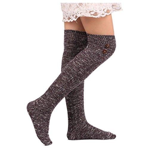 Inkach Womens Thigh High Boot Socks Over Knee High Leg Wamers Girls Winter Warm Knitted Long Socks (Purple)