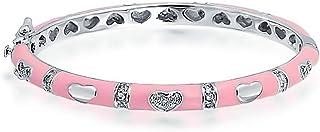 Tiny Bangle Bracelet Pink Enamel CZ Pave Hearts Silver Plated Brass for Small Wrists