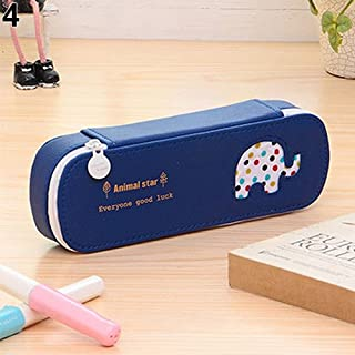 Sanwooden Creative and Fashionable Cute Dotted Bear Elephant Horse Dolphin Pattern Pencil Case Box Makeup Pouch - Blue
