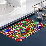 FengYe Memoria Piso Baño Alfombra Absorber Alfombra de,Fondo con Algunas de Las Banderas del mundoAlfombra Antideslizante Alfombra Espuma (60 * 100cm)
