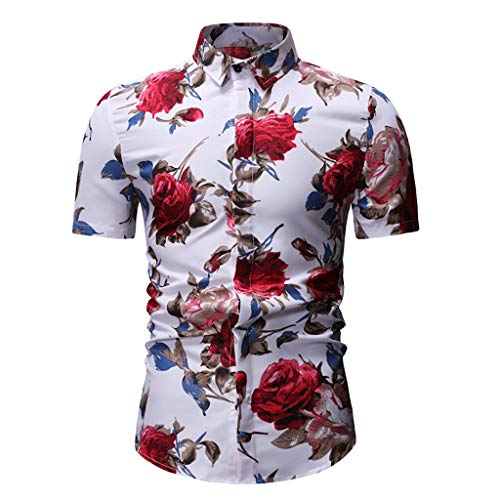 Herren Casual Sommer Printed Button Kurzarm Hawaii T-Shirt Top Bluse