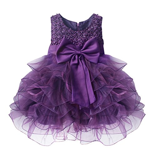 FEESHOW Baby Girls' Ruffle Flower Princess Wedding Birthday Party Dress Baptism Christening Gown Purple SZ 3T