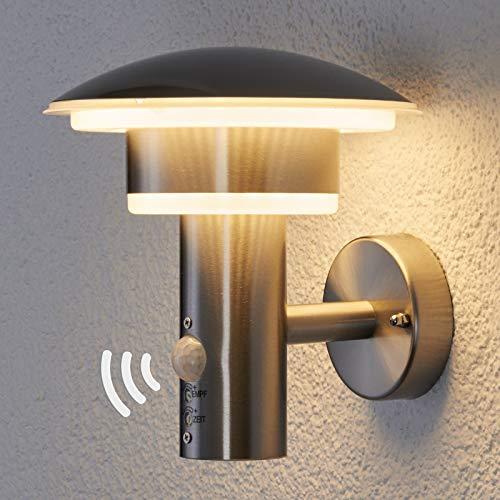 Lindby Edelstahl LED Wandlampe aussen mit Bewegungsmelder | Aussenwandleuchte modern IP44 | inkl. 1x 8,1W LED Leuchtmittel A+ (fest verbaut) | warmweiß (3.000K)