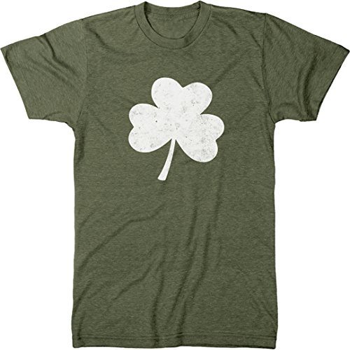 Trunk Candy Distressed St. Patrick's Day Shamrock Men's Modern Fit T-Shirt (Military Green, Medium)