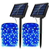 JosMega Solar Fairy String Lights 2 Pack 72 ft 200 LED Outdoor Waterproof 8 Modes Twinkle Upgraded Larger Solar Powered Panels Lights Silver Wire Solar Fairy String Lights Decoration