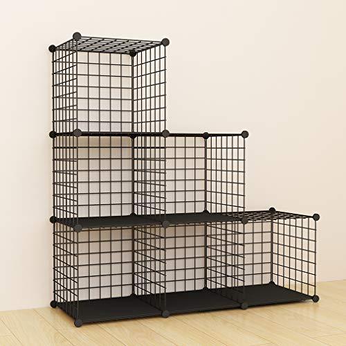 SIMPDIY estanteria modular malla almacenamiento, librería armario 6 cubos, estanterias metalicas almacenaje alta capacidad, vitrina almacenamiento artículos sala estar oficina, 93x32x62cm, negro