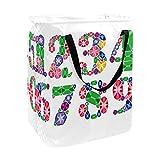 nakw88 Cesta de lavandería con asa de cuerda plegable de lino, cesta de almacenamiento de ropa para baño con diamante brillante número