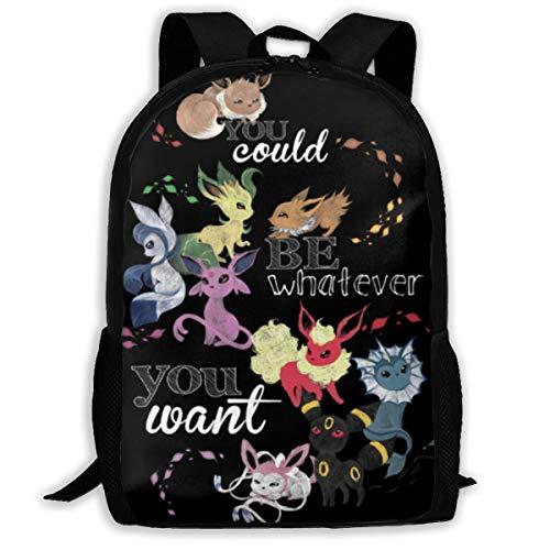 Kids Poke E-Evee Family Backpack Students Bookbags Durable Daypacks 17 Inch Rucksack for Boys&Girls
