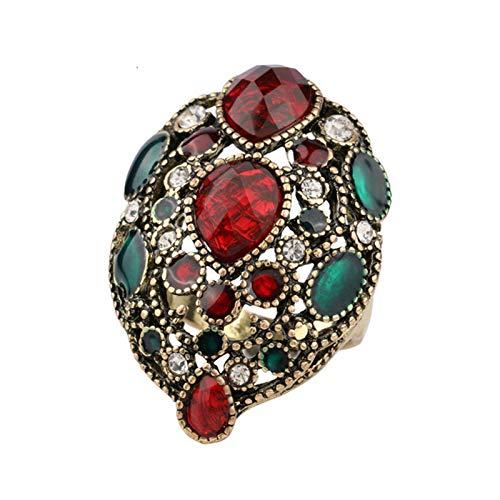 EzzySo Anillo Hueco de Piedras Preciosas, Americana Hermosa Exquisita Exquisita Estilo de aleación de Estilo Palacio joyería (2 Piezas),9