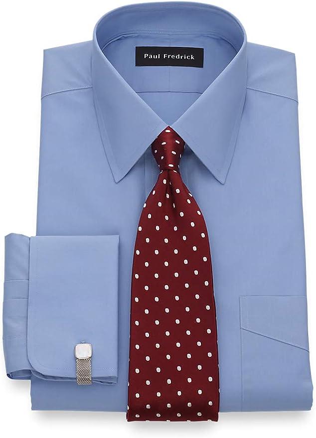 Men/'s Cotton Blend French Cuff Dress Shirt w// Tie Hanky and Cufflinks 630 Black