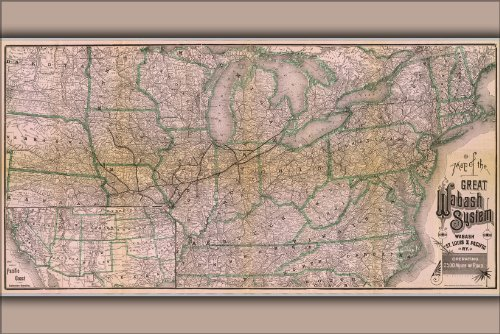 History Galore 24'x36' Gallery Poster, 1886 Railroad Map of The Wabash, St. Louis and Pacific Railway