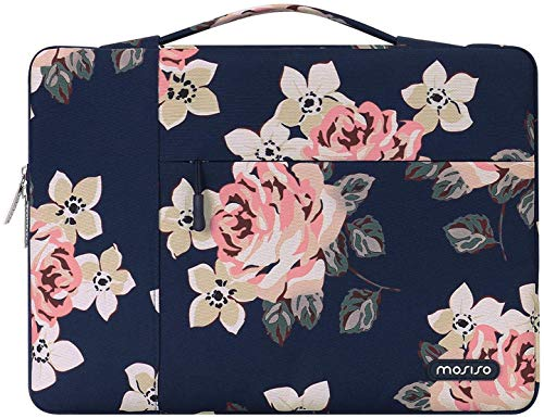 MOSISO 360 Protective Laptop Sleeve Bag Compatible with 13-13.3 inch MacBook Pro, MacBook Air, Notebook with Side Open Zipper, Polyester Rose Pattern Carrying Case Cover Briefcase Handbag, Navy Blue
