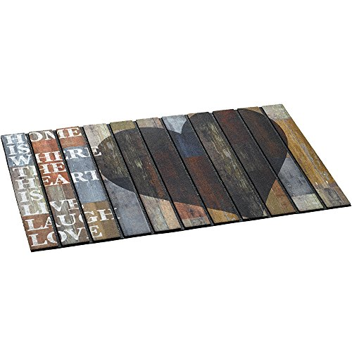 MD-Entree Paillasson extérieur Ecomat cœur 46x76cm, Tissu, Anthracite, 80 x 150 cm