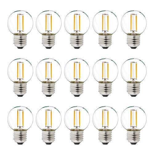 Genixgreen G40 LED filamento Mini Globe cadena bombilla 1W cálido blanco 2700K...