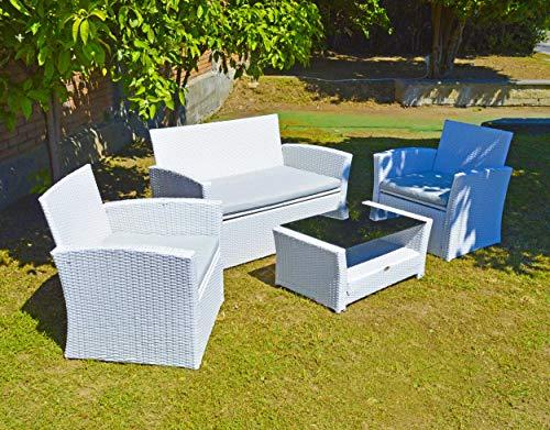 Scaramuzza Modo Salotto da Giardino in Polyrattan Bianco Divano 2 posti + 2 Poltrone + Tavolino con Cuscini in Poliestere