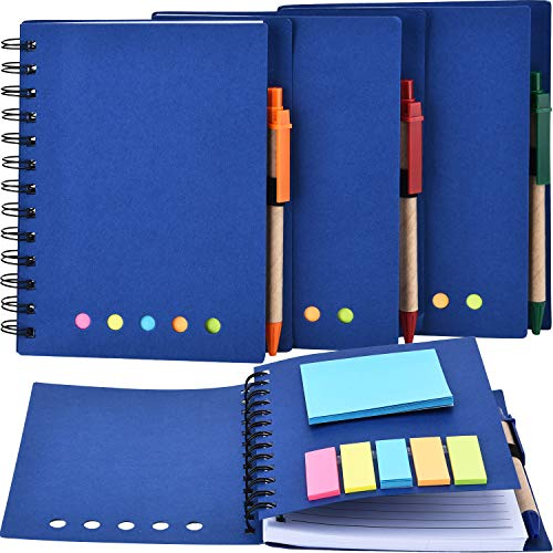 TOODOO 4 Packs Spiral Notebook Lined Notepad with Pen in Holder and Sticky Notes, Page Marker Colored Index Tabs Flags (Blue Cover, Large)