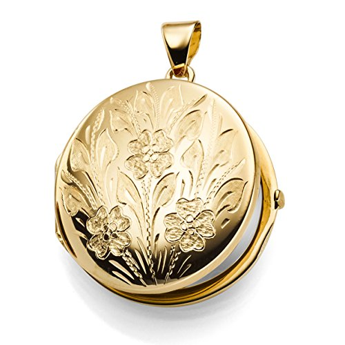 Medaillon mit Blumen Amulett Anhänger zum Öffnen aus 585 Gold Gelbgold rund