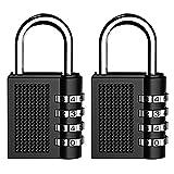 Combination Lock Security Padlock, <span class='highlight'><span class='highlight'>Kungix</span></span> Heavy Duty Padlocks 4 Digit Resettable Locker Code Lock, Black Pack of 2