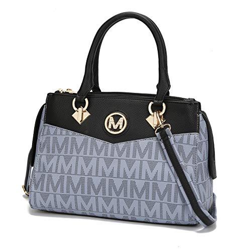 Mia K Collection Crossbody Shoulder Handbag for Women, PU Leather Pocketbook Top-Handle Purse Tote-Satchel Bag Grey